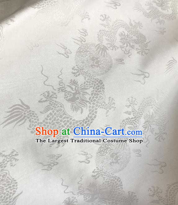 Asian Chinese Traditional Dragons Pattern Design White Brocade Fabric Silk Fabric Chinese Fabric Asian Material