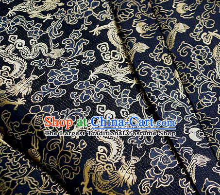 Asian Chinese Traditional Twine Dragon Pattern Design Navy Brocade Fabric Silk Fabric Chinese Fabric Asian Material
