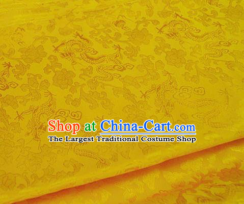 Asian Chinese Traditional Twine Dragon Pattern Design Yellow Brocade Fabric Silk Fabric Chinese Fabric Asian Material