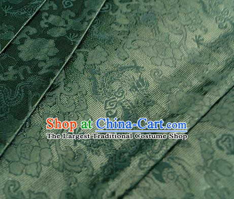 Asian Chinese Traditional Twine Dragon Pattern Design Green Brocade Fabric Silk Fabric Chinese Fabric Asian Material