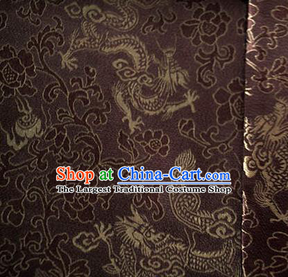 Asian Chinese Traditional Twine Dragon Pattern Design Brown Brocade Fabric Silk Fabric Chinese Fabric Asian Material