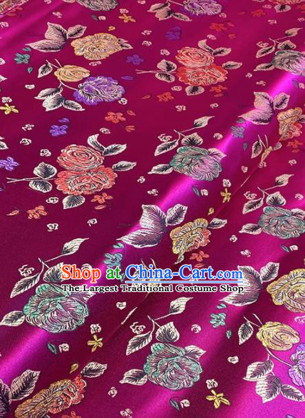Asian Chinese Traditional Roses Pattern Design Rosy Brocade Fabric Silk Fabric Chinese Fabric Asian Material
