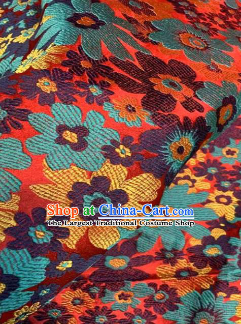Asian Chinese Traditional Blue Flowers Pattern Design Brocade Fabric Silk Fabric Chinese Fabric Asian Material