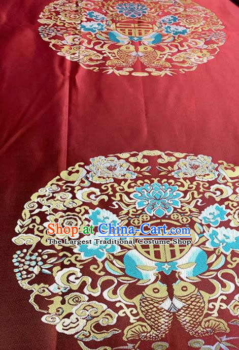 Asian Chinese Traditional Double Fishes Lotus Pattern Design Red Brocade Fabric Silk Fabric Chinese Fabric Asian Material