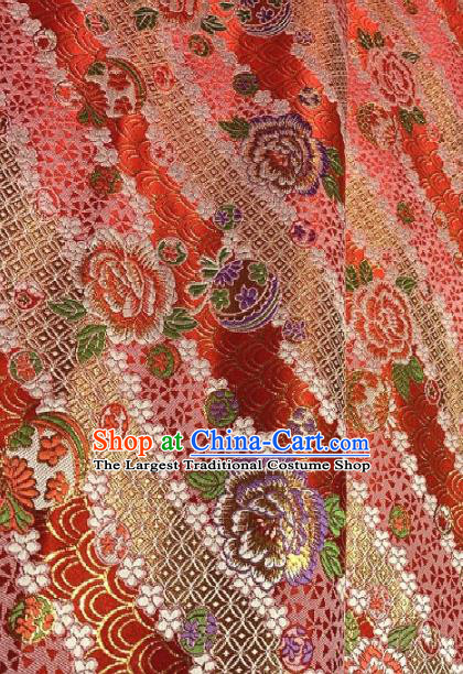 Asian Chinese Traditional Roses Pattern Design Red Brocade Fabric Silk Fabric Chinese Fabric Asian Material