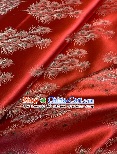 Asian Chinese Traditional Feather Pattern Design Red Brocade Fabric Silk Fabric Chinese Fabric Asian Material