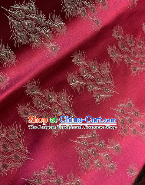 Asian Chinese Traditional Feather Pattern Design Rosy Brocade Fabric Silk Fabric Chinese Fabric Asian Material