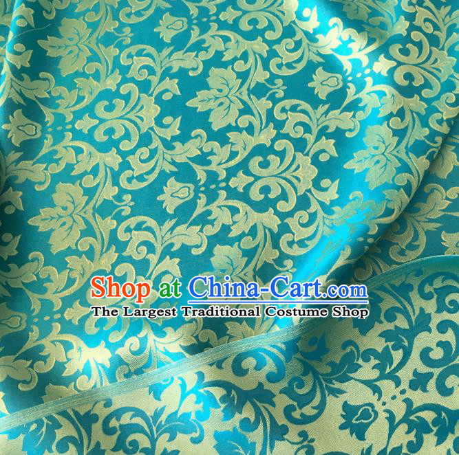 Asian Chinese Traditional Grape Vine Pattern Design Blue Brocade Fabric Silk Fabric Chinese Fabric Asian Material