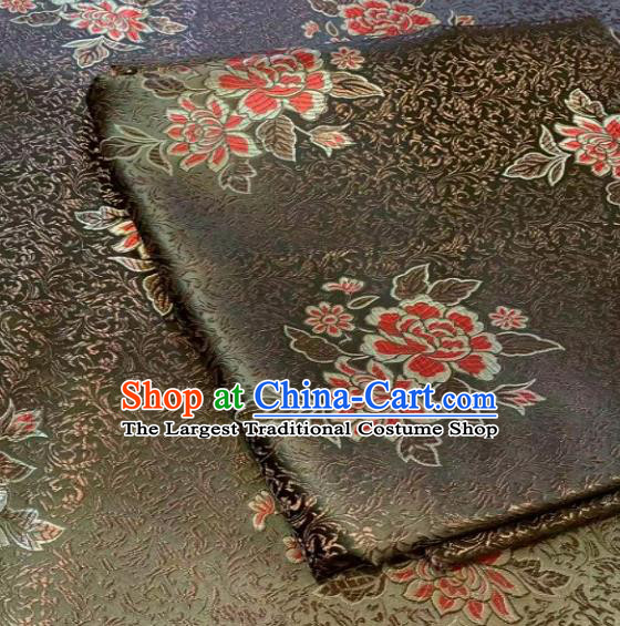 Asian Chinese Traditional Peony Pattern Design Olive Green Brocade Fabric Silk Fabric Chinese Fabric Asian Material