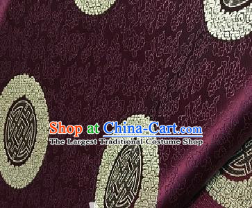 Asian Chinese Traditional Longevity Pattern Design Purple Brocade Fabric Silk Fabric Chinese Fabric Asian Material