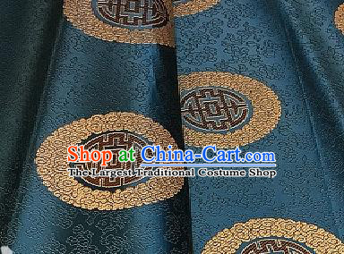 Asian Chinese Traditional Longevity Pattern Design Peacock Blue Brocade Fabric Silk Fabric Chinese Fabric Asian Material