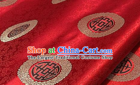 Asian Chinese Traditional Longevity Pattern Design Red Brocade Fabric Silk Fabric Chinese Fabric Asian Material