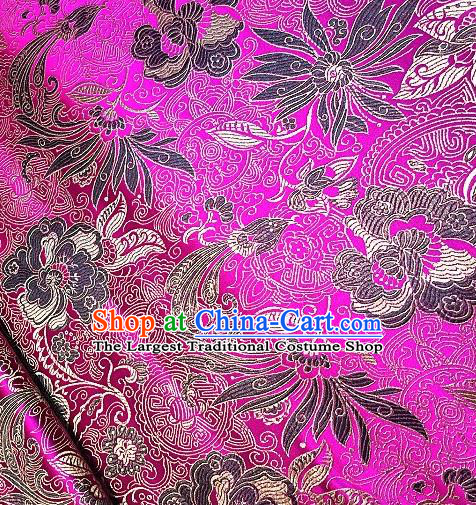 Asian Chinese Traditional Lotus Peony Pattern Design Rosy Brocade Fabric Silk Fabric Chinese Fabric Asian Material