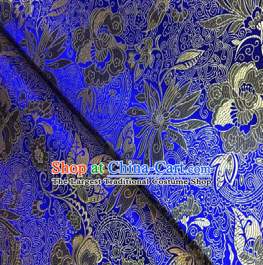 Asian Chinese Traditional Lotus Peony Pattern Design Royalblue Brocade Fabric Silk Fabric Chinese Fabric Asian Material