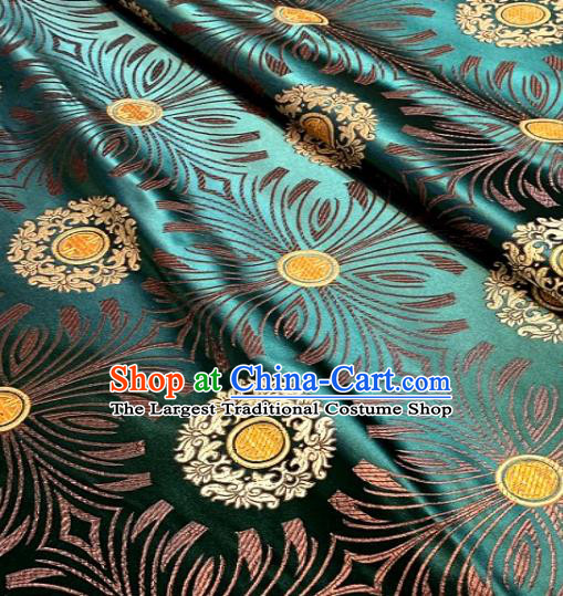 Asian Chinese Traditional Round Flowers Pattern Design Green Brocade Fabric Silk Fabric Chinese Fabric Asian Material