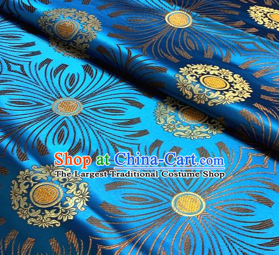 Asian Chinese Traditional Round Flowers Pattern Design Blue Brocade Fabric Silk Fabric Chinese Fabric Asian Material