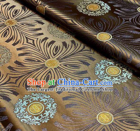 Asian Chinese Traditional Round Flowers Pattern Design Bronze Brocade Fabric Silk Fabric Chinese Fabric Asian Material