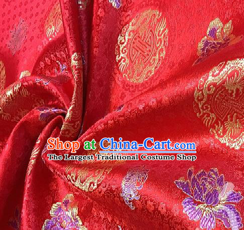 Asian Chinese Traditional Dragon Peony Pattern Design Red Brocade Fabric Silk Fabric Chinese Fabric Asian Material
