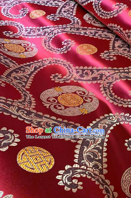 Asian Chinese Traditional Pattern Design Purplish Red Brocade Fabric Silk Fabric Chinese Fabric Asian Material