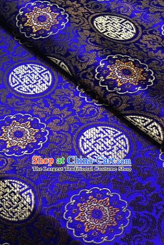 Asian Chinese Traditional Auspicious Pattern Design Royalblue Brocade Fabric Silk Fabric Chinese Fabric Asian Material