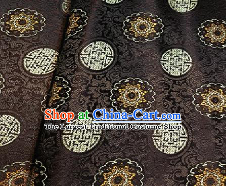Asian Chinese Traditional Auspicious Pattern Design Brown Brocade Fabric Silk Fabric Chinese Fabric Asian Material
