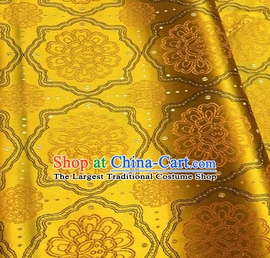 Asian Chinese Traditional Auspicious Flowers Pattern Design Golden Brocade Fabric Silk Fabric Chinese Fabric Asian Material