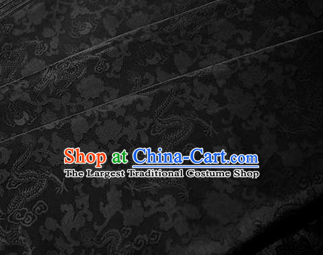 Asian Chinese Traditional Twine Dragon Pattern Design Black Brocade Fabric Silk Fabric Chinese Fabric Asian Material