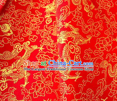 Asian Chinese Traditional Twine Dragon Pattern Design Red Brocade Fabric Silk Fabric Chinese Fabric Asian Material