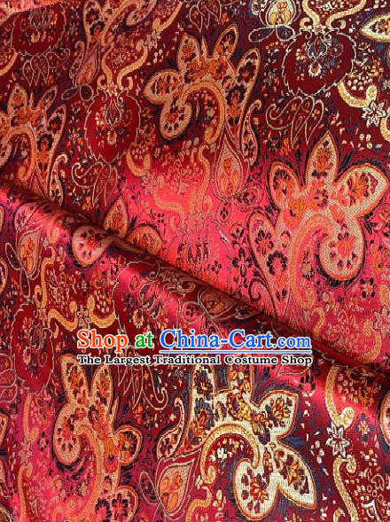 Asian Chinese Traditional Paddy Flowers Pattern Design Red Brocade Fabric Silk Fabric Chinese Fabric Asian Material