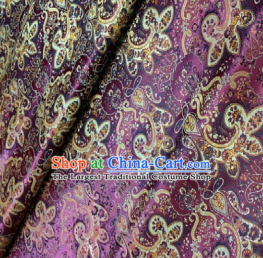 Asian Chinese Traditional Paddy Flowers Pattern Design Purple Brocade Fabric Silk Fabric Chinese Fabric Asian Material