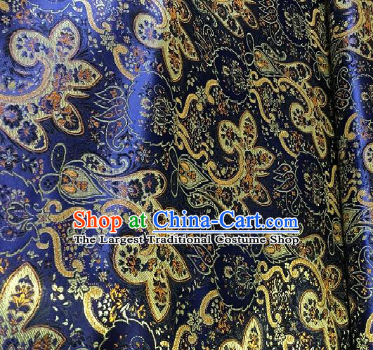 Asian Chinese Traditional Paddy Flowers Pattern Design Royalblue Brocade Fabric Silk Fabric Chinese Fabric Asian Material