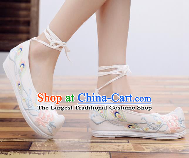 Chinese Traditional Hanfu Shoes Ancient Princess Embroidered Shoes National White Cloth Shoes for Women