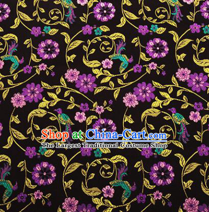 Chinese Traditional Hanfu Silk Fabric Classical Purple Flowers Pattern Design Brocade Tang Suit Fabric Material