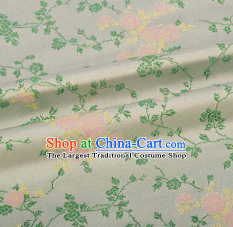 Chinese Traditional Hanfu Silk Fabric Classical Flowers Pattern Design Light Green Brocade Tang Suit Fabric Material