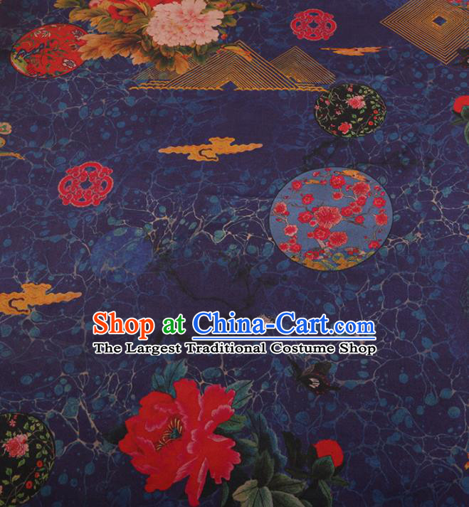 Chinese Traditional Moon Peony Pattern Design Purple Satin Watered Gauze Brocade Fabric Asian Silk Fabric Material
