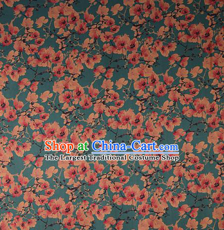 Chinese Traditional Peach Blossom Pattern Design Green Satin Watered Gauze Brocade Fabric Asian Silk Fabric Material