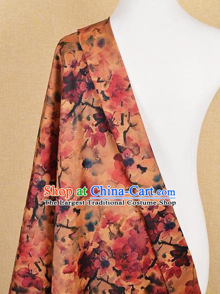 Chinese Traditional Peach Blossom Pattern Design Satin Watered Gauze Brocade Fabric Asian Silk Fabric Material