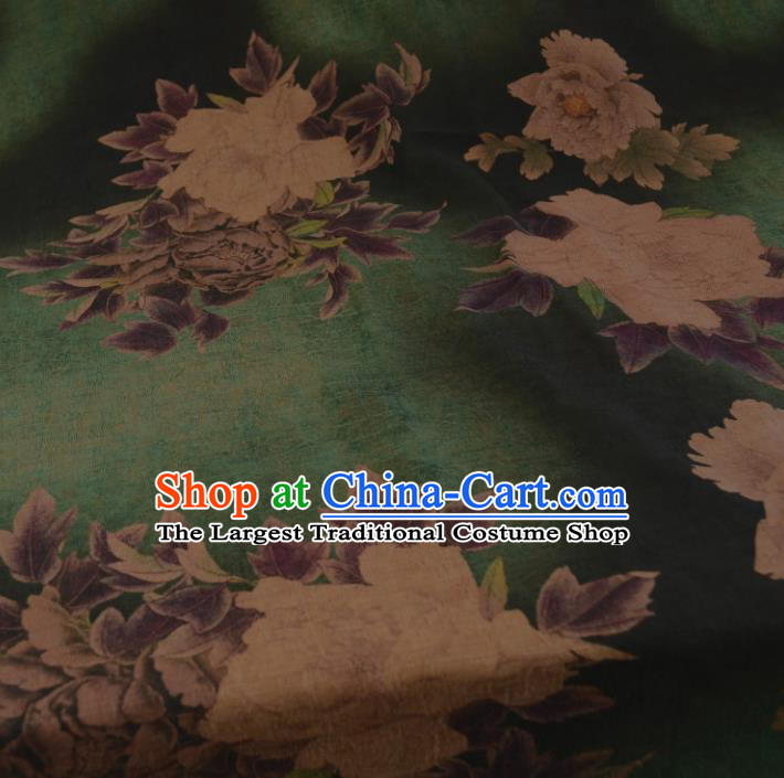 Chinese Traditional Peony Pattern Design Deep Green Satin Watered Gauze Brocade Fabric Asian Silk Fabric Material