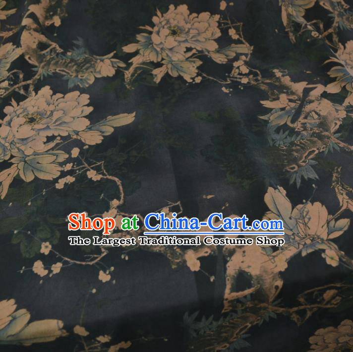 Chinese Traditional Peony Pattern Design Black Satin Watered Gauze Brocade Fabric Asian Silk Fabric Material