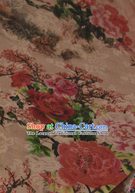 Chinese Traditional Peony Pattern Design Satin Watered Gauze Brocade Fabric Asian Silk Fabric Material