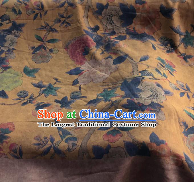 Chinese Traditional Peony Pattern Design Yellow Satin Watered Gauze Brocade Fabric Asian Silk Fabric Material