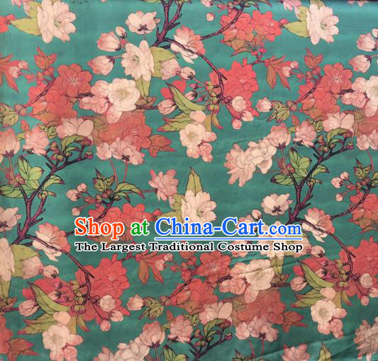 Chinese Traditional Peach Flowers Pattern Design Green Satin Watered Gauze Brocade Fabric Asian Silk Fabric Material