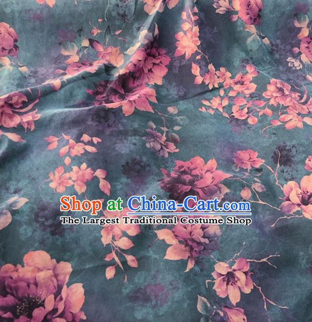 Chinese Traditional Magnolia Pattern Design Atrovirens Satin Watered Gauze Brocade Fabric Asian Silk Fabric Material