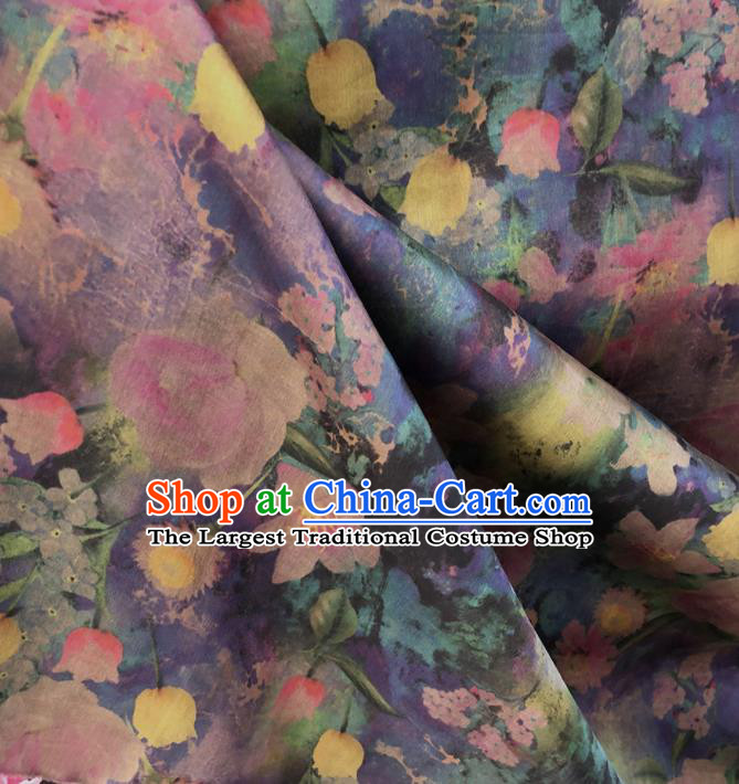 Chinese Traditional Pattern Design Purple Satin Watered Gauze Brocade Fabric Asian Silk Fabric Material
