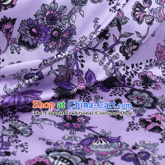 Chinese Traditional Cockscomb Pattern Design Violet Satin Watered Gauze Brocade Fabric Asian Silk Fabric Material