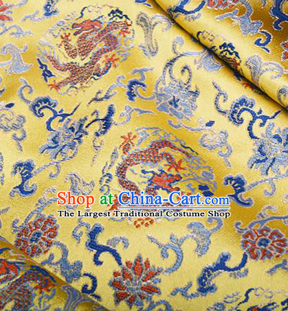 Chinese Traditional Hanfu Silk Fabric Classical Dragon Pattern Design Golden Brocade Tang Suit Fabric Material