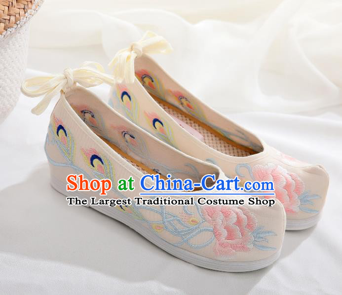 Chinese Traditional Hanfu Shoes Ancient Princess Embroidered Peony Beige Shoes National Cloth Shoes for Women
