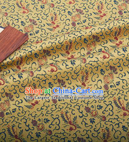 Chinese Traditional Hanfu Silk Fabric Classical Phoenix Pattern Design Golden Brocade Tang Suit Fabric Material