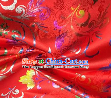 Chinese Traditional Hanfu Silk Fabric Classical Chrysanthemum Pattern Design Red Brocade Tang Suit Fabric Material