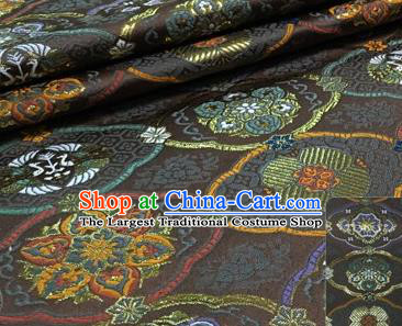 Chinese Traditional Hanfu Silk Fabric Classical Totem Pattern Design Brown Brocade Tang Suit Fabric Material